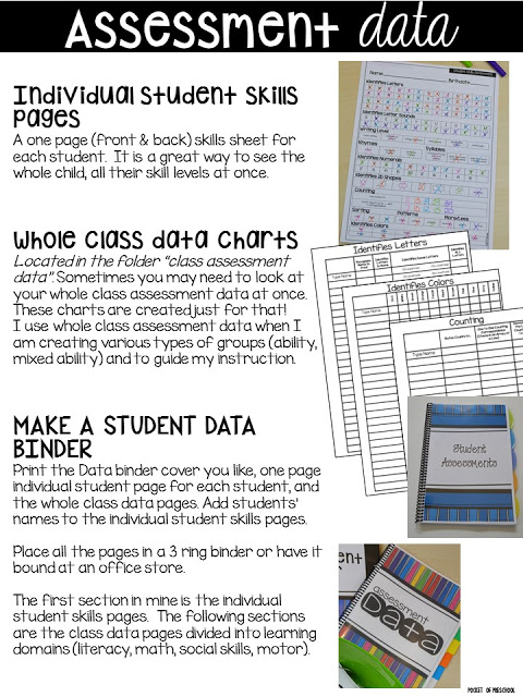 Make assessments & student portfolios easy and manageable using a student data binder! Just print, assess, record, and file! Perfect for preschool, pre-k, and kindergarten