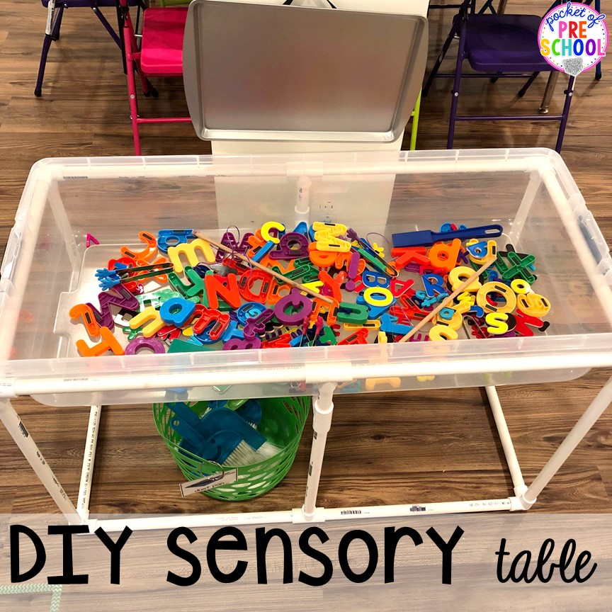 Sensory table hack! Sensory table ideas - sensory filler list, sensory tools list plus how to make it meaningful play in your preschool, pre-k, or kindergarten classroom.