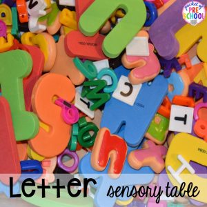 Letter sensory table! Sensory table ideas - sensory filler list, sensory tools list plus how to make it meaningful play in your preschool, pre-k, or kindergarten classroom.