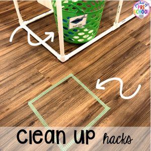 Sensory table hack for clean up! Sensory table ideas - sensory filler list, sensory tools list plus how to make it meaningful play in your preschool, pre-k, or kindergarten classroom.