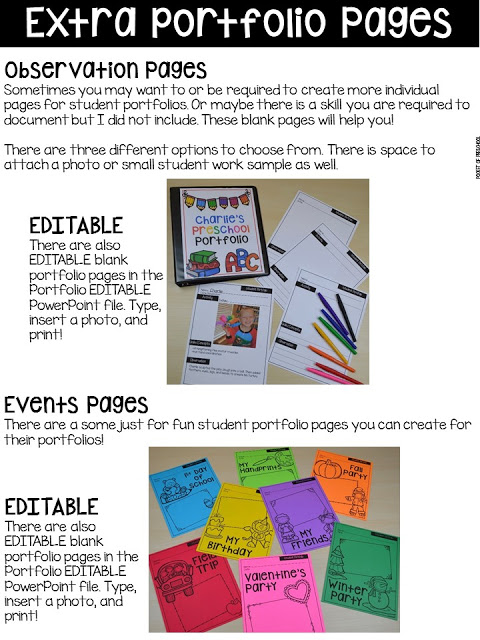 Editable observation pages! Make assessments & portfolios easy and manageable! Just print, assess, record, and file! Perfect for preschool, pre-k, and kindergarten.