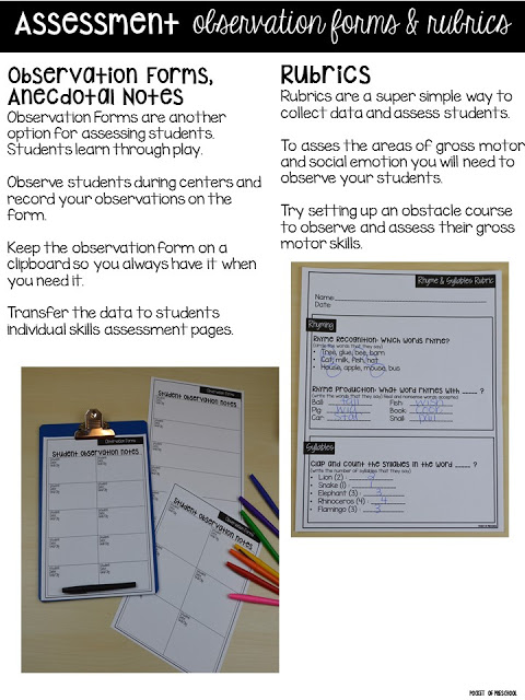 Make assessments & student portfolios easy and manageable using anecdotal notes & rubrics! Just print, assess, record, and file! Perfect for preschool, pre-k, and kindergarten