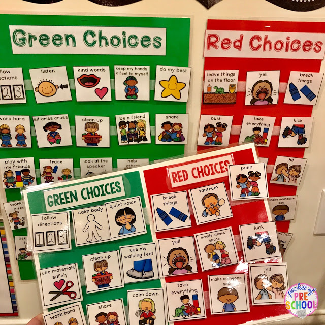 Green and red choice behavior management techniques (posters, songs, individual choice boards, class books, and children's books to support) perfect for preschool, pre-k, and kindergarten