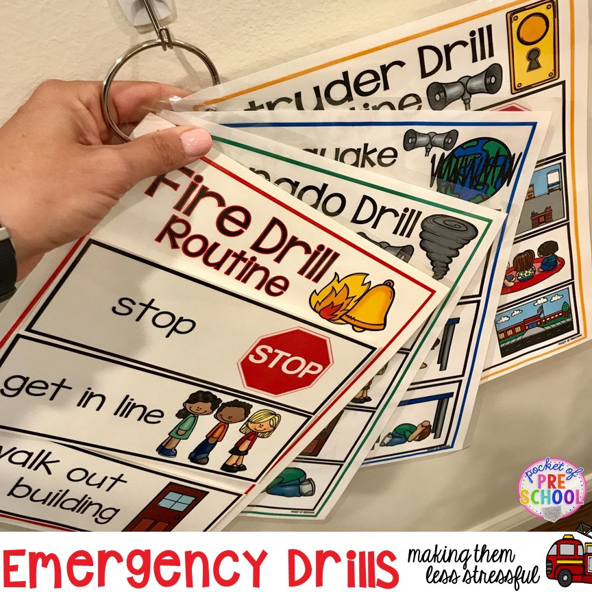 Visuals and supports to make fire drill and other emergency drills less stressful and scary for kids in your preschool, pre-k, and kindergarten classrooms.
