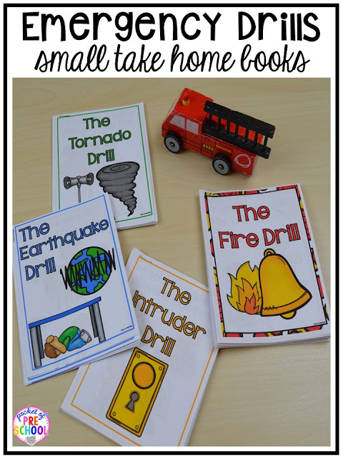 Student take home books - Visuals and supports to make emergency drills less stressful and scary for kids in your preschool, pre-k, and kindergarten classrooms.