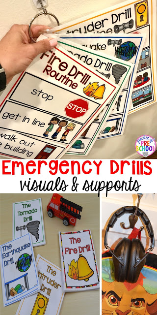 Fire, Earthquake, Tornado, & Intruder Drills - Visuals and supports to make emergency drills less stressful and scary for kids in your preschool, pre-k, and kindergarten classrooms.