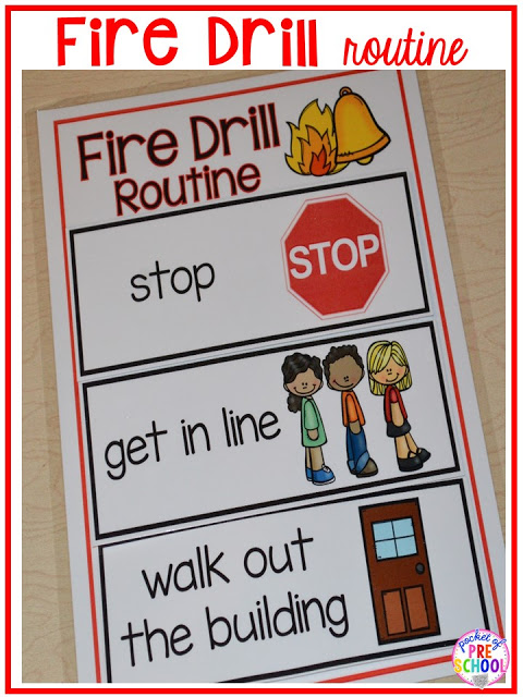 Visuals and supports to make fire drills less stressful and scary for kids in your preschool, pre-k, and kindergarten classrooms.