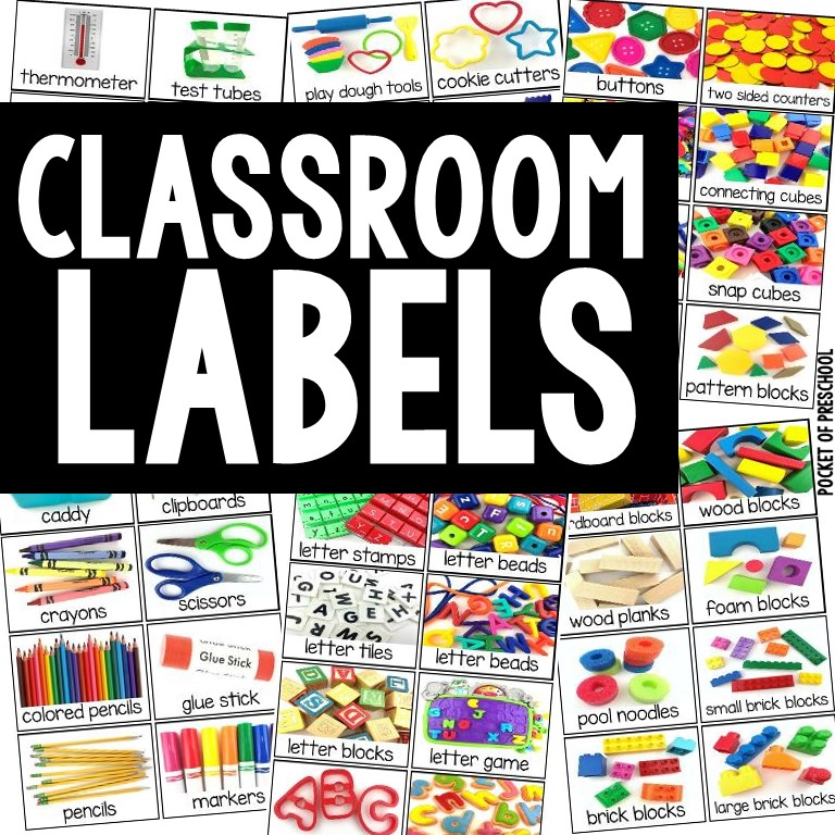 Classroom labels with REAL photographs! A must for very preschool, pre-k, and kindergarten classroom!