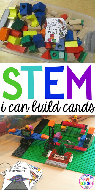 "Do ever have those kids that get to the blocks center and don't know what to build? ""I Can"" anchor charts and books helps give students ideas of what they can build. Easy way to embed STEM activities to your early childhood classroom."