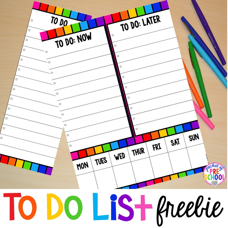 FREE to do lists to help keep you and your classroom organized all year long! #classroomorganization #todolist #preschool #lessonplans
