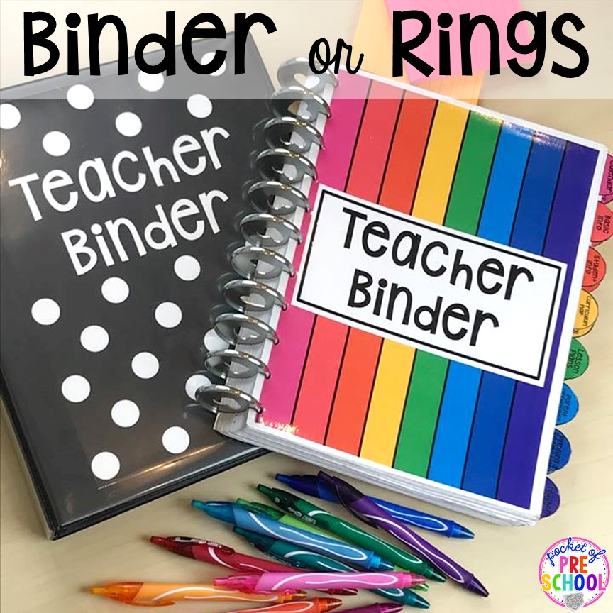 Teacher binder for toddler, preschool, pre-k, and kindergarten teachers. Get organized! #teacherplanner #lessonplans #preschool #pre-k #backtoschool
