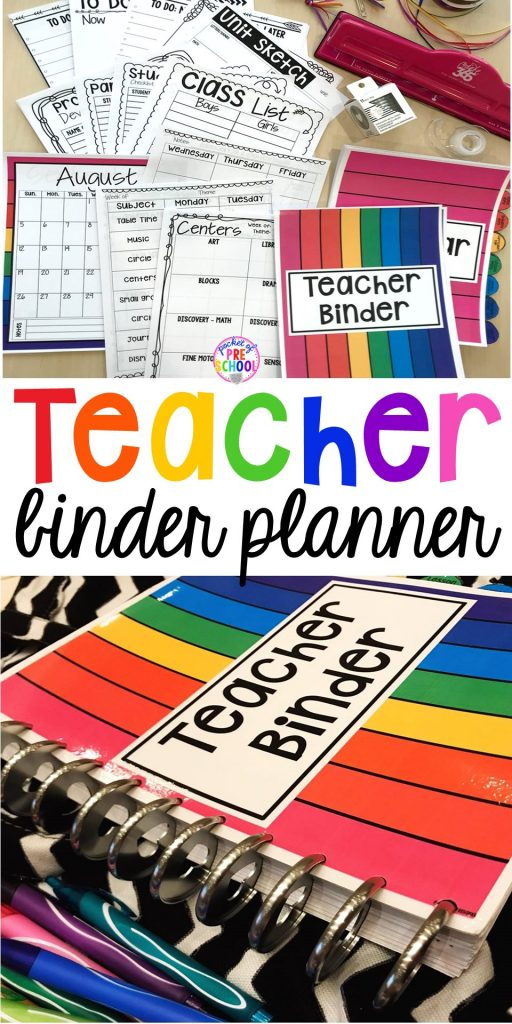 Teacher lesson plan binder (how to make it & what to put inside) for toddler, preschool, pre-k, and kindergarten teachers. Get organized! #teacherplanner #lessonplans #preschool #pre-k #backtoschool