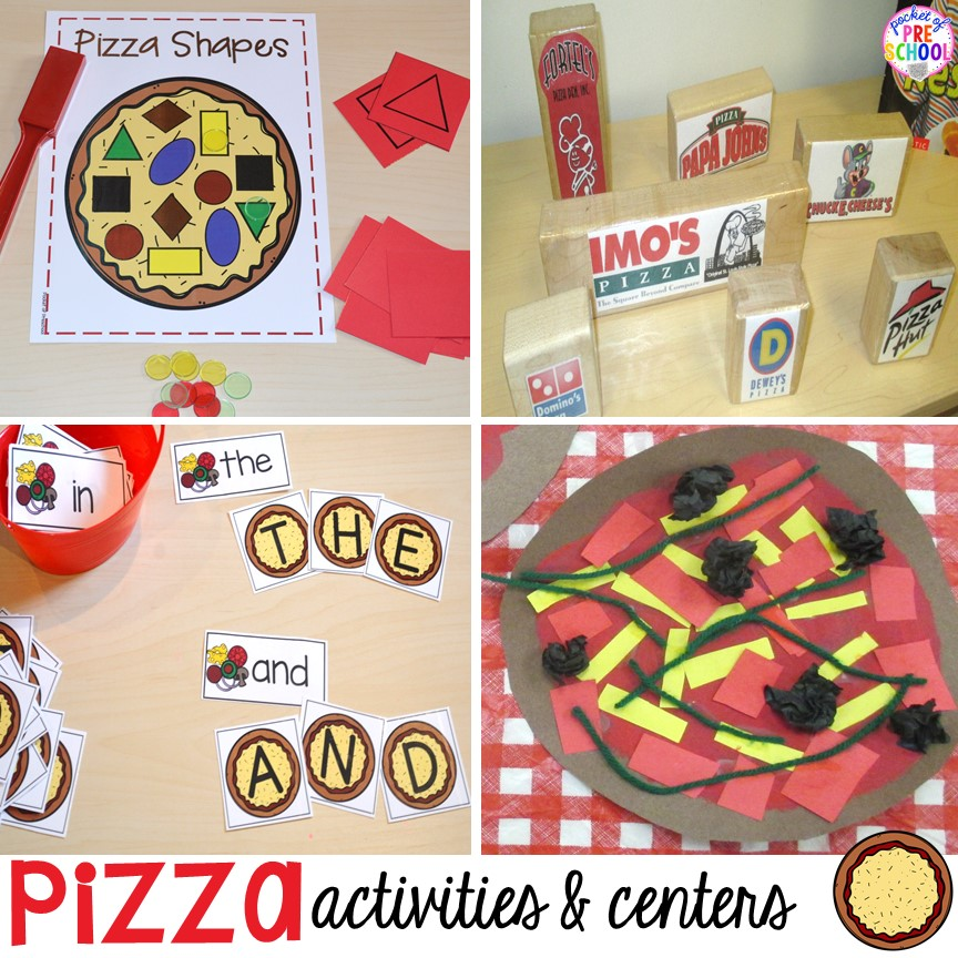 Pizza themed math, literacy, blocks, STEM, fine motor, art, and sensory centers for preschool, pre-k, and kindergarten