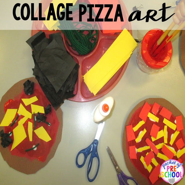 Pizza collage art (great fine motor work) perfect for a pizza theme in a preschool, pre-k, and kindergarten classroom.