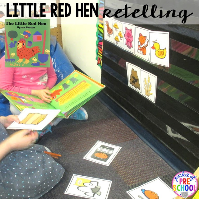 Little Red Hen retelling  perfect for a pizza theme in a preschool, pre-k, and kindergarten classroom.