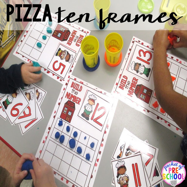 Pizza ten frames  perfect for a pizza theme in a preschool, pre-k, and kindergarten classroom.