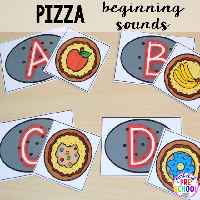 Pizza beginning sounds (aka initial sounds) perfect for a pizza theme in a preschool, pre-k, and kindergarten classroom.