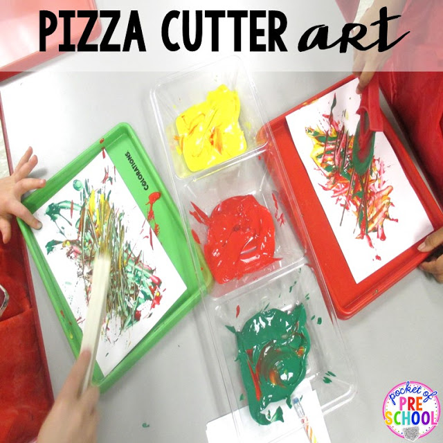 Pizza cutter art  perfect for a pizza theme in a preschool, pre-k, and kindergarten classroom.