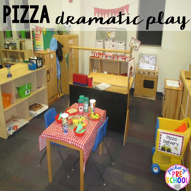 Pizza restaurant dramatic play  perfect for a pizza theme in a preschool, pre-k, and kindergarten classroom.