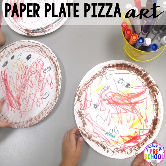 Paper plate pizzas  perfect for a pizza theme in a preschool, pre-k, and kindergarten classroom.