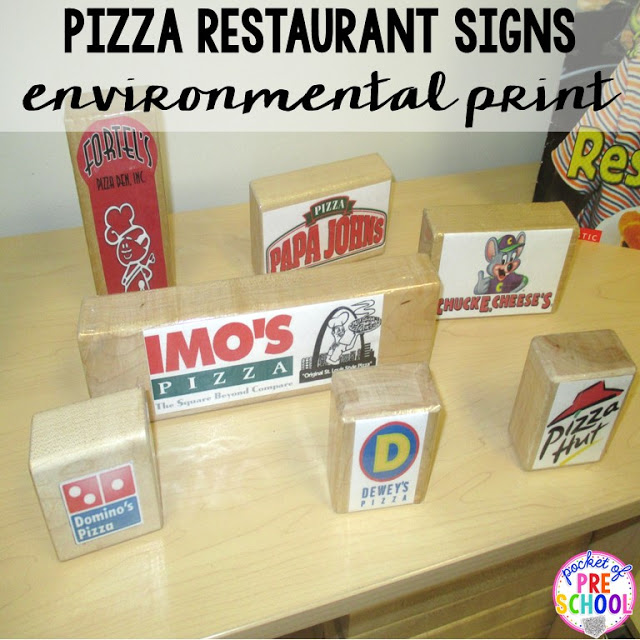 Build pizza restaurants with signs to include environmental print is a fun STEM challenge perfect for a pizza theme in a preschool, pre-k, and kindergarten classroom.