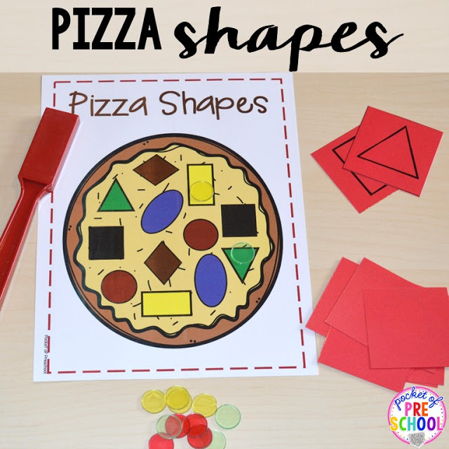 Pizza shape game perfect for a pizza theme in a preschool, pre-k, and kindergarten classroom.