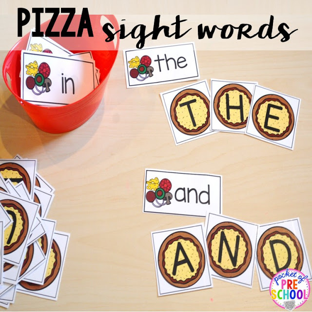 Pizza sight words  perfect for a pizza theme in a preschool, pre-k, and kindergarten classroom.