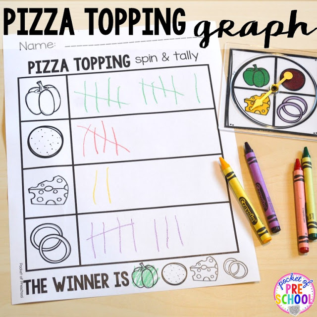 Pizza topping graph perfect for a pizza theme in a preschool, pre-k, and kindergarten classroom.
