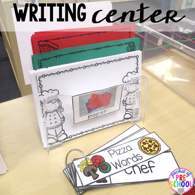 Pizza themed writing center perfect for a pizza theme in a preschool, pre-k, and kindergarten classroom.