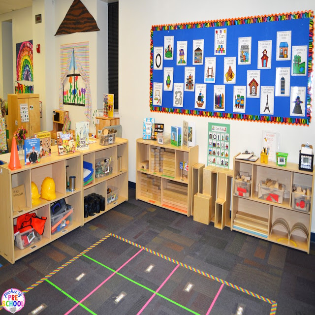 How to set up the blocks center in your early childhood classroom (with ideas, tips, and book list) plus block center freebies