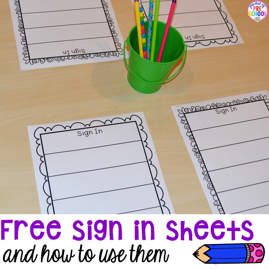 free daily sign in sheets for your classroom