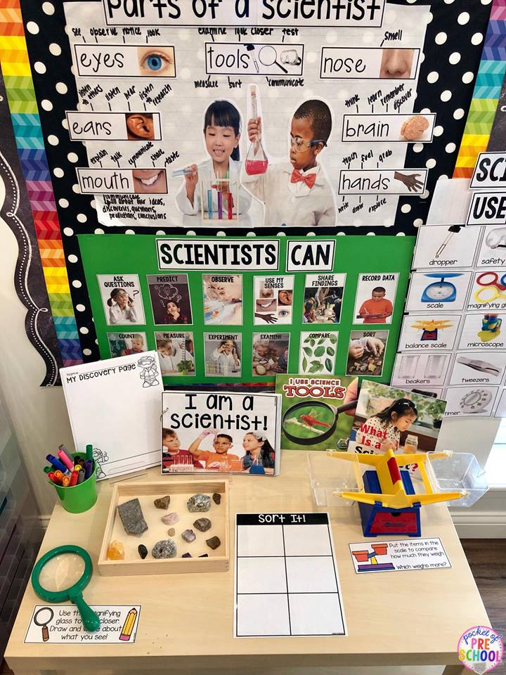 Being a Scientist science table for back to school in my preschool and pre-k classroom.