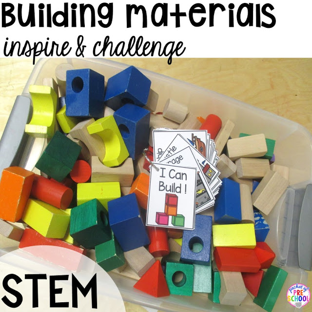 Add STEM to your science center (with freebies) in your early childhood classroom.