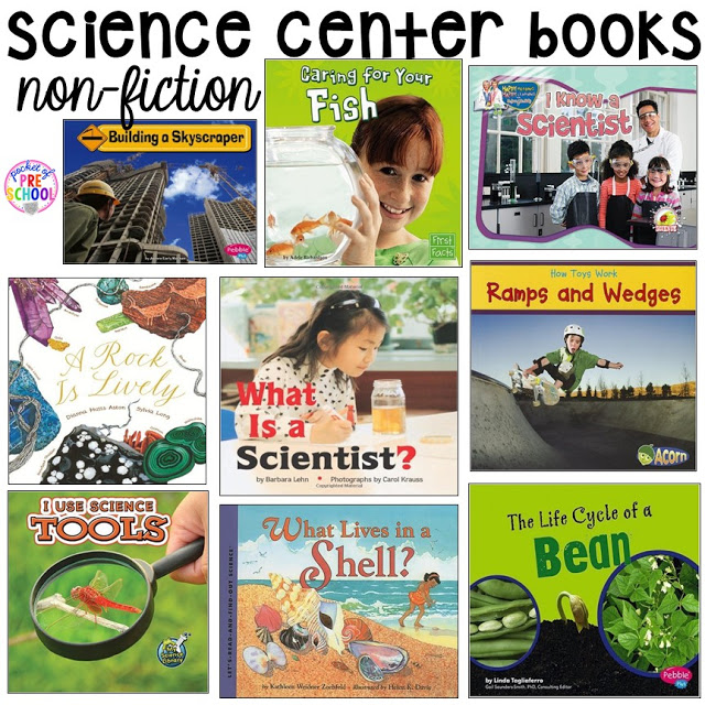 Book list for the science center (with freebies) in your early childhood classroom.