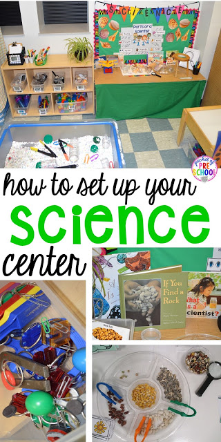 How to set up the science center (with freebies) in your preschool, pre-k, or kindergarten classroom. What tools to use, book list, and what to learn about.