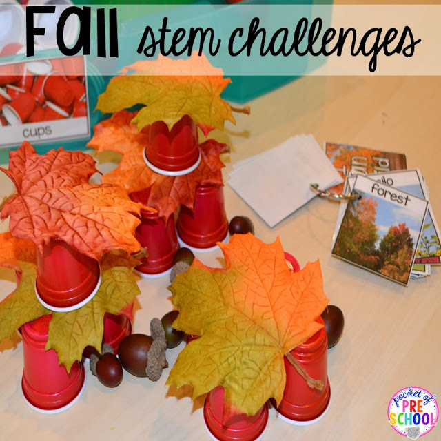 Fall STEM challenges! Fall math, literacy, fine motor, art, sensory, and dramatic play activities for your preschool, pre-k, and kindergarten classroom.