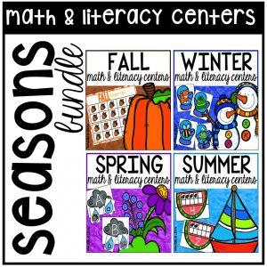 Seasons math and literacy centers designed for preschool, pre=k, and kindergarten.