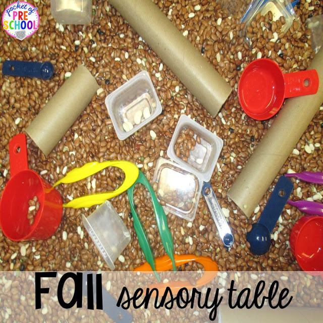 Fall sensory table. Fall math, literacy, fine motor, art, sensory, science, and dramatic play activities for your preschool, pre-k, and kindergarten classroom.