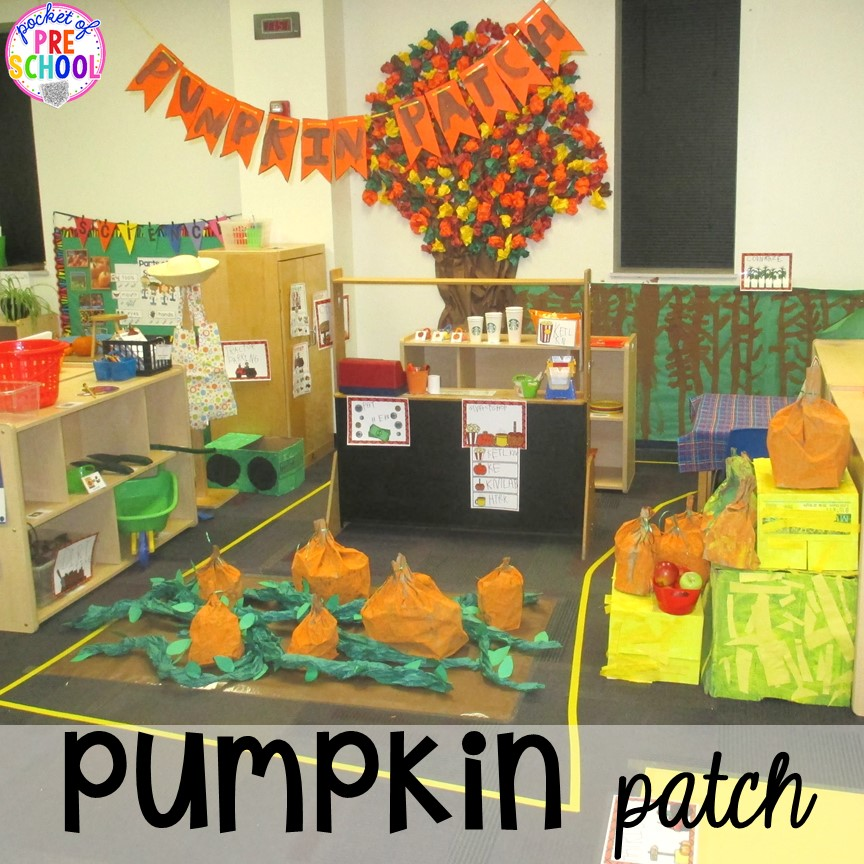 Pumpkin patch dramatic play! Fall math, literacy, fine motor, art, sensory, science, and dramatic play activities for your preschool, pre-k, and kindergarten classroom.