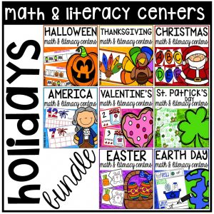 Holiday Math and Literacy Center Bundles designed for preschool, pre-k, and kindergarten students. #centertime #mathcenters #litreacycenters
