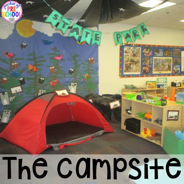 Classroom Ideas Pre K ~ Camping dramatic play pocket of preschool