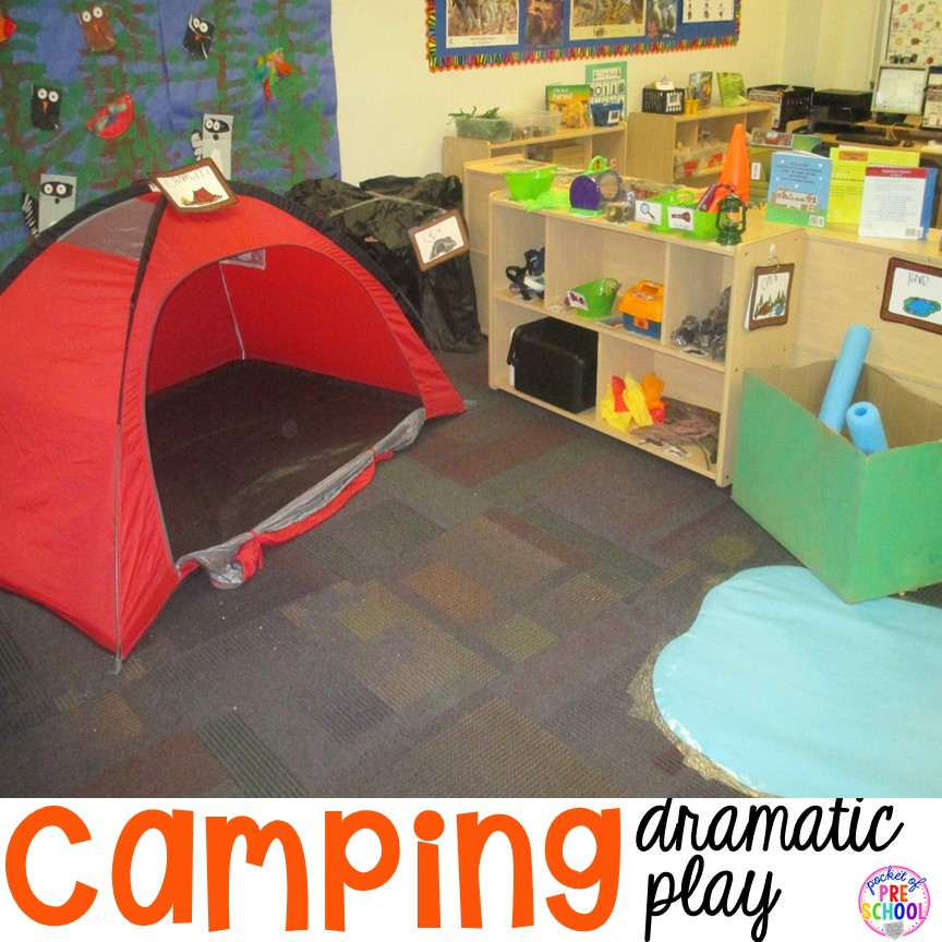 Classroom Decorating Ideas Camping Theme ~ Camping dramatic play pocket of preschool