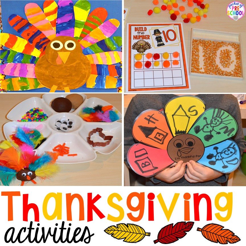 Thanksgiving activities and centers for preschool pre k for Thanksgiving craft ideas for kindergarten