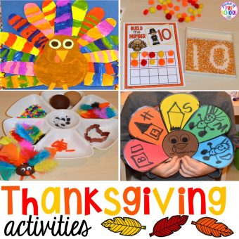 Thanksgiving Themed Activities and Centers for Preschool, Pre-K, and Kindergarten