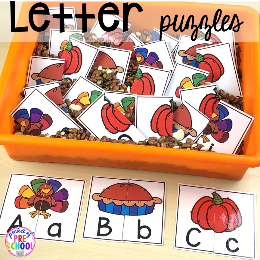Thanksgiving turkey letter puzzles. Thanksgiving and turkey themed activities and centers for preschool, pre-k, and kindergarten. (math, literacy, fine motor, character, and more).