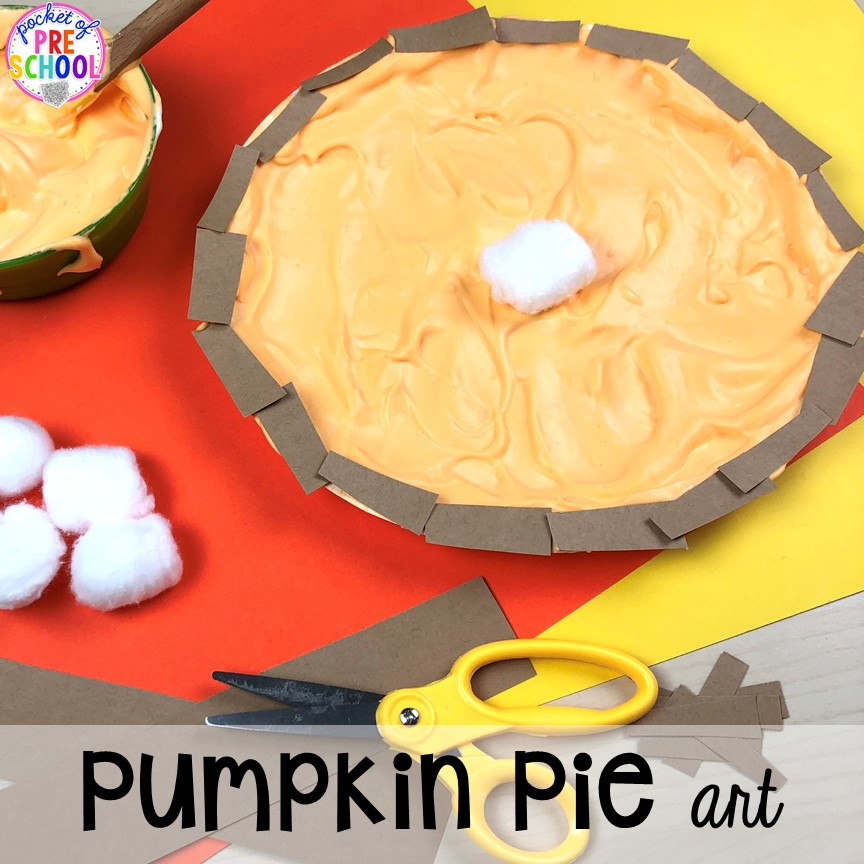 Puffy paint pumpkin pie art for a Thanksgiving or fall theme. My preschool and pre-k friends will love this. Fine motor work too!
