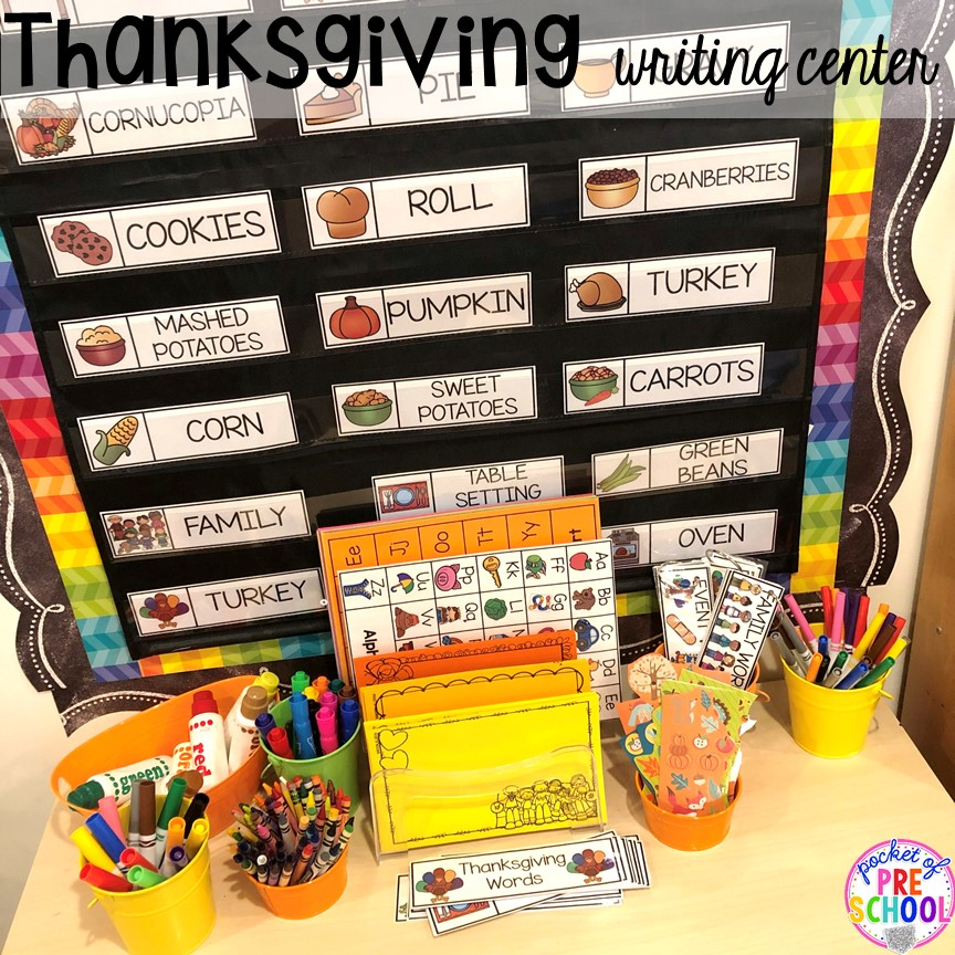 Thanksgiving writing center. Thanksgiving and turkey themed activities and centers for preschool, pre-k, and kindergarten. (math, literacy, fine motor, character, and more).