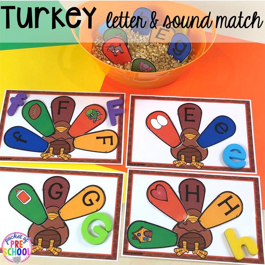 Turkey letter match puzzles.Thanksgiving and turkey themed activities and centers for preschool, pre-k, and kindergarten. (math, literacy, fine motor, character, and more).
