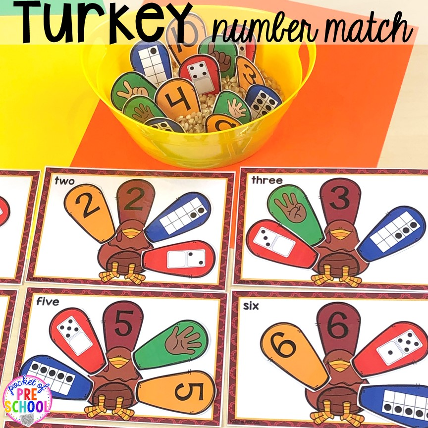 Turkey number match puzzles. Thanksgiving and turkey themed activities and centers for preschool, pre-k, and kindergarten. (math, literacy, fine motor, character, and more).