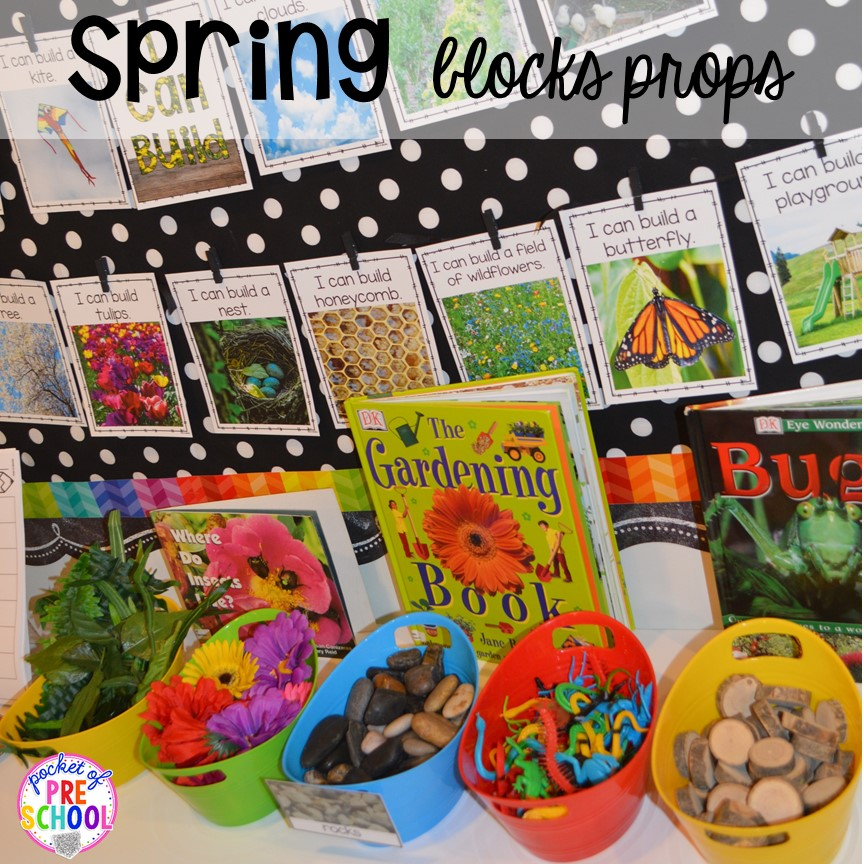 SPRING STEM blocks or stem center inspiration for little learners (preschool, pre-k, and kindergarten).